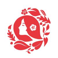 ナチュラル・オーガニック・椿をイメージした女性の髪イラスト