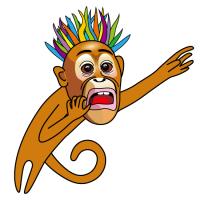 やばい猿キャラクターイラストDangerous monkey character