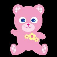 かわいいピンクのクマ ティディベア Cute pink bear Tidi Bear